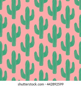 Seamless pattern with cactus in green on pink background.