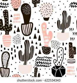 Seamless pattern with cactus and hand drawn textures.Perfect for fabric,textile.Vector background