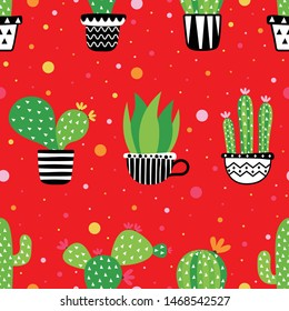 seamless pattern cactus on red background. vector, illustration