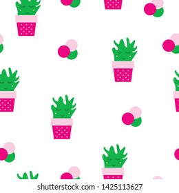 seamless pattern with cactus plants vector - smiling cactus - white background