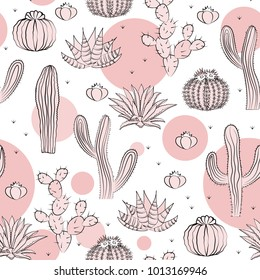 Seamless pattern with cactus. Wild cactus forest with doodle circles. Stylish pink, black, and white palette. Vector