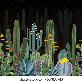 Seamless pattern with cactus. Wild cactus forest at night. Vector illustration