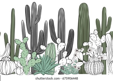 Seamless pattern with cactus. Wild cactus forest
