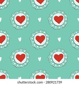 Seamless pattern with cake. Tea time. Seamless background