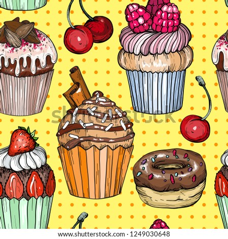 Seamless Pattern With Cakes And Cupcakes Chocolate Dessert Bakery Colorful Pop Art Design