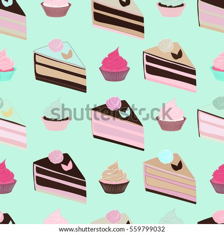 Seamless Pattern With Cakes And Cupcakes On Blue Background Cute For Party Or Birthday