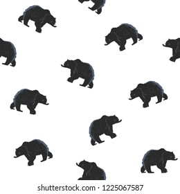 Seamless pattern California bear. Fashion trend and textile design. Repeated, vector hand drawn illustration.