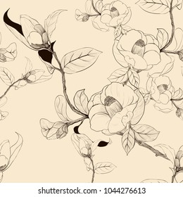 Seamless pattern.  Camellia - flowers, buds and leaves. Decorative composition. Use printed materials, signs, items, websites, maps, posters, postcards, packaging.