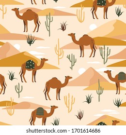 Seamless pattern with camels, dunes and cacti. Cute illustration of an animal in the desert. Camel Caravan in the Sands