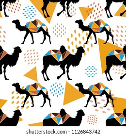 Seamless pattern with camels and triangles