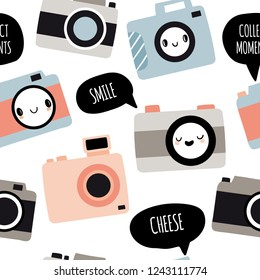 Seamless pattern with cameras with cute faces and speech bubbles: smile, cheese, collect moments. Photography vector illustration in cartoon style. Flat style collection, hand drawn graphic.
