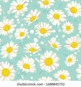 Seamless pattern with camomiles flowers