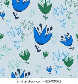 Seamless pattern. Campanula on a Light grayish-blue background. It can be used for printing on packaging, bags, cups, textile, etc. Vector illustration.