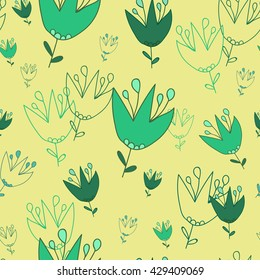 Seamless pattern. Campanula on a Very soft yellow background. It can be used for printing on packaging, bags, cups, textile, etc. Vector illustration.