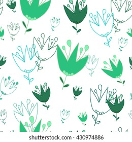 Seamless pattern. Campanula on a white background. It can be used for printing on packaging, bags, cups, textile, etc. Vector illustration.