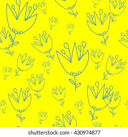 Seamless pattern. Campanula on a yellow background. It can be used for printing on packaging, bags, cups, textile, etc. Vector illustration.