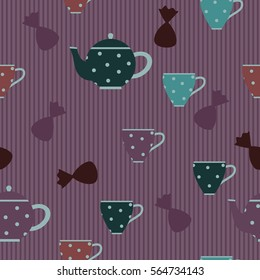 Seamless pattern with candies, cups and kettle with polka dots. Striped background. Black and white.