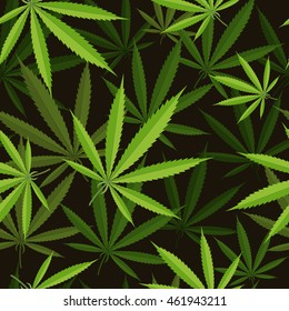Seamless pattern of cannabis leaf. Vector stock illustration.