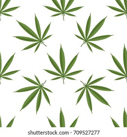 Seamless pattern of cannabis leaf. Vector