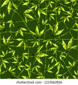 Seamless pattern. Cannabis leaves on a curved mesh background. Editable.