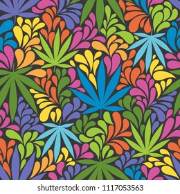 Seamless pattern with cannabis leaves. Retro 70s style vector illustration. Great for backgrounds, fabrics, wrapping paper, etc.