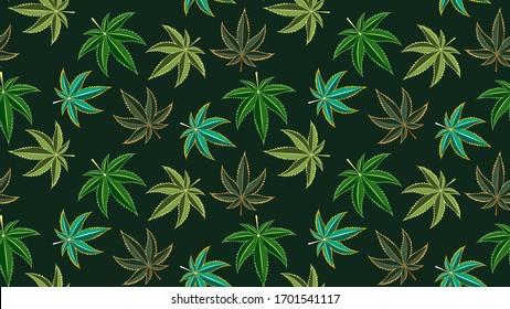 Seamless pattern with cannabis leaves. Cannabis, sativa, indica,marijuana. Vector Illustration background