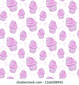 Seamless pattern with capcakes on a white background. Vector illustration.