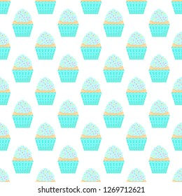 Seamless pattern with capcakes on a white background. Vector