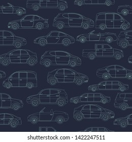 Seamless pattern with car body types