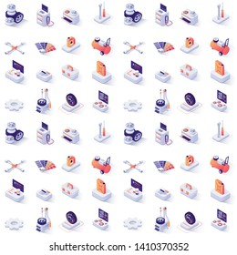 Seamless Pattern with Car Service Isometric Icons. Paints, Spare Parts, Automobile Tools and Accessories, Diagnostics Equipment, Scheduled Signboard, Wheels, Tires and Disks. Vector 3d Illustration