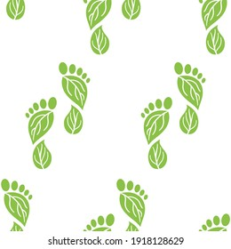 Seamless pattern of carbon footprint icons. CO2 ecological footprint symbols with green leaves. Greenhouse gas emission. Environmental and climate change concept. Hand drawn vector illustration.