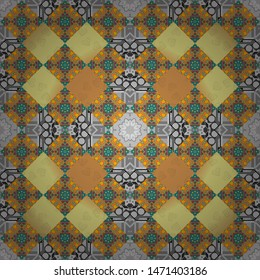 Seamless pattern for cards, prints, textile, fabric, books covers or wrapping paper. Flower mandala vector colorful background foin yellow, gray and orange colors.