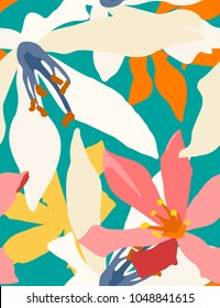 Seamless pattern of Cardwell lily, flat minimal retro/vintage colorful vector