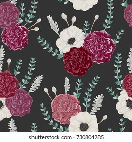 Seamless pattern with carnation and anemone flowers, eucalyptus, dusty miller and silver brunia. Vintage winter floral background. Vector illustration in watercolor style