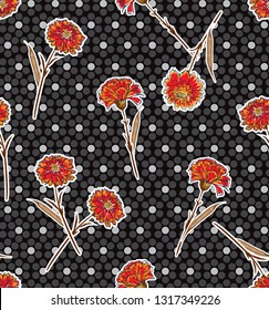 Seamless pattern carnation flower on modern polaka dots background in vector design for fashion ,fabric,wallpaper,web and all prints on black background color