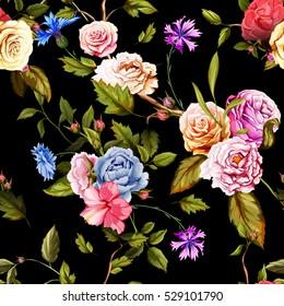 Seamless pattern of carnation flowers, roses, peony,  leaves, cornflowers on  black. Vintage style. Rose, peony, carnation, cornflower. Vector stock