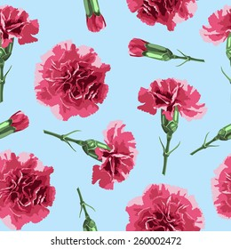 Seamless pattern carnations flowers. Floral background, wallpaper,  wrapping, packing paper. Elegance pattern with realistic red flowers. Vintage vector illustration, eps 10