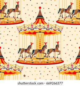 Seamless pattern with carousel and horses. Vector illustration with pony, merry-go-round on the stars background.