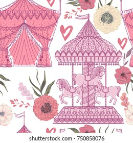 Seamless pattern with carousel, tent, hearts and floral elements on white background. Funfair theme. Vintage vector illustration in watercolor style.