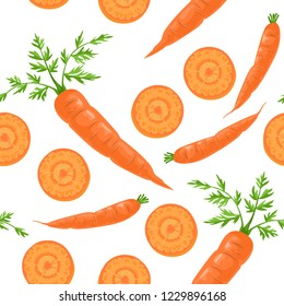 Seamless pattern with carrots on a white background. Fresh vegetables whole, slices and green leaves. Vector illustration in flat cartoon style.