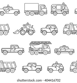 Seamless pattern cars. Black and white background in cartoon style. Can be used for children wallpapers, web site background or wrapping paper