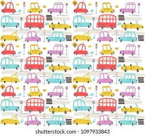Seamless pattern with cars and city