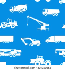 Seamless pattern of cars and road equipment.