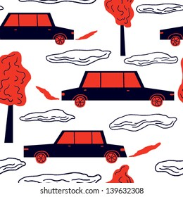 Seamless pattern with cars and trees