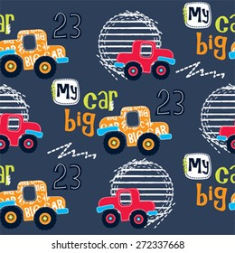 seamless pattern with cars vector illustration