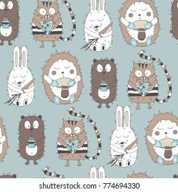 Seamless pattern with cartoon animals.