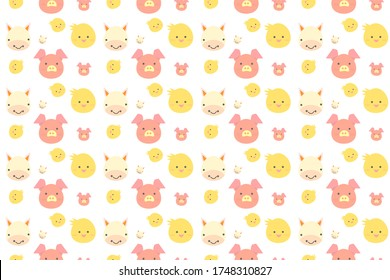 seamless pattern with cartoon animals faces pig and cow vector design illustration
