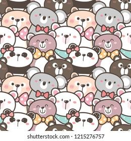 Seamless Pattern with Cartoon Bear, Panda and Koala Illustration Design
