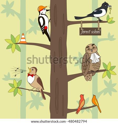 eecc5c0932 Seamless Pattern Cartoon Birds On Tree Stock Vector (Royalty Free ...