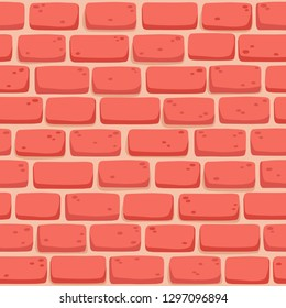 Seamless pattern of cartoon brick wall in coral color. Bright texture used for game, web design, textile, paper.
